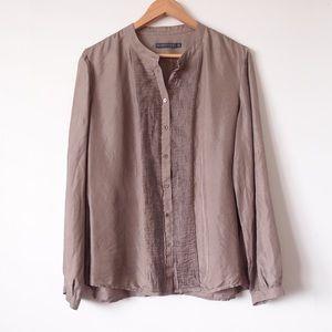 SPORTSCRAFT Brown Long Sleeve Silk Shirt Plus